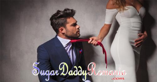 femeia ia bărbat puternic prin cravată, fotografie cu sigla sugardaddyromania